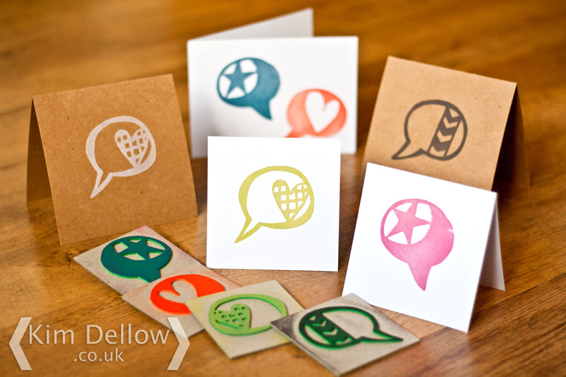 Greeting cards made with the DIY stamps