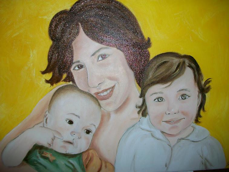 Ritratto ad olio di famiglia da fotografia