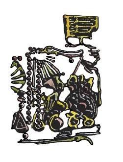 Jean-Pierre PARAGGIO, enigmat (illustration) pour DÉLUGE, Julien STARCK