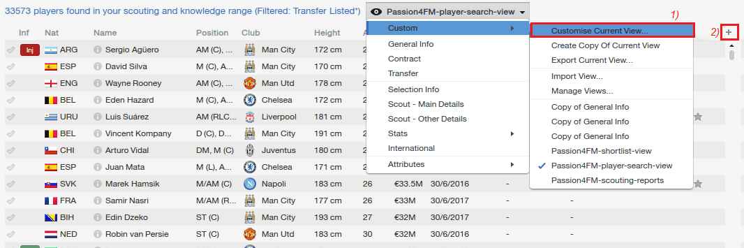 Customize views in Football Manager