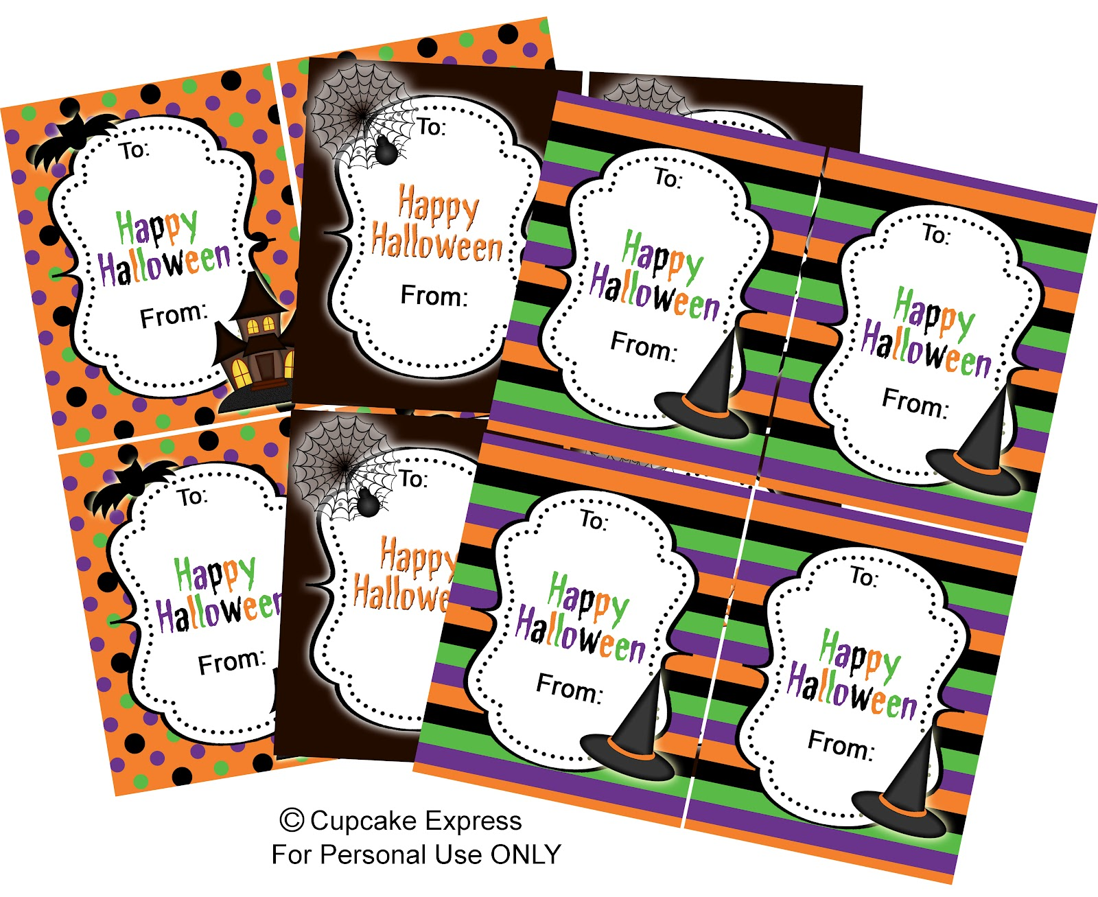 Vibrant image inside free printable halloween tags