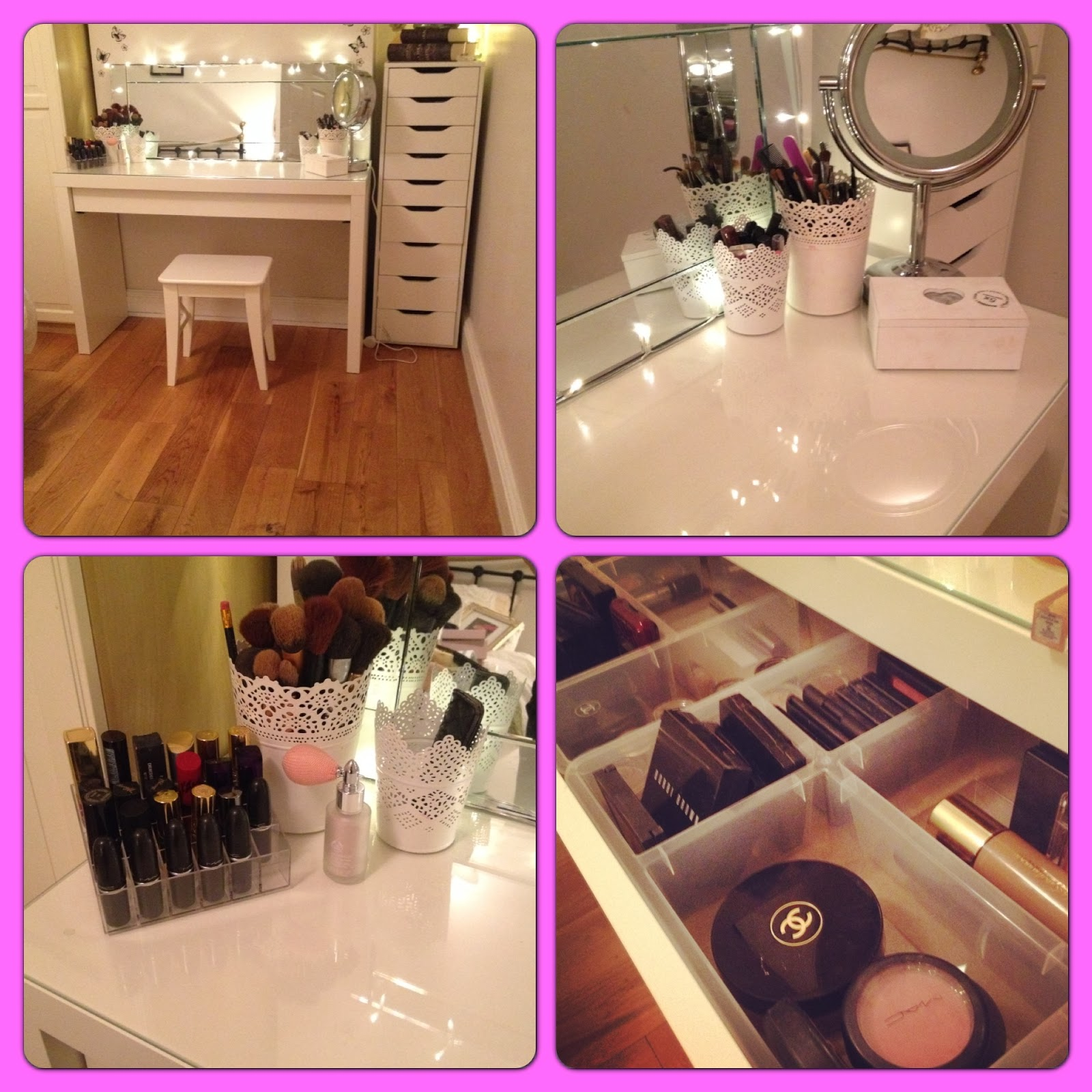 Makeup storage and vanity table Any of you that follow The Beautiful Truth on Facebook will know that for the past few weeks I have been obsessing about getting new storage for my makeup. I had rapidly run out of space for storing my makeup and hairdryers etc and I need a new solution.