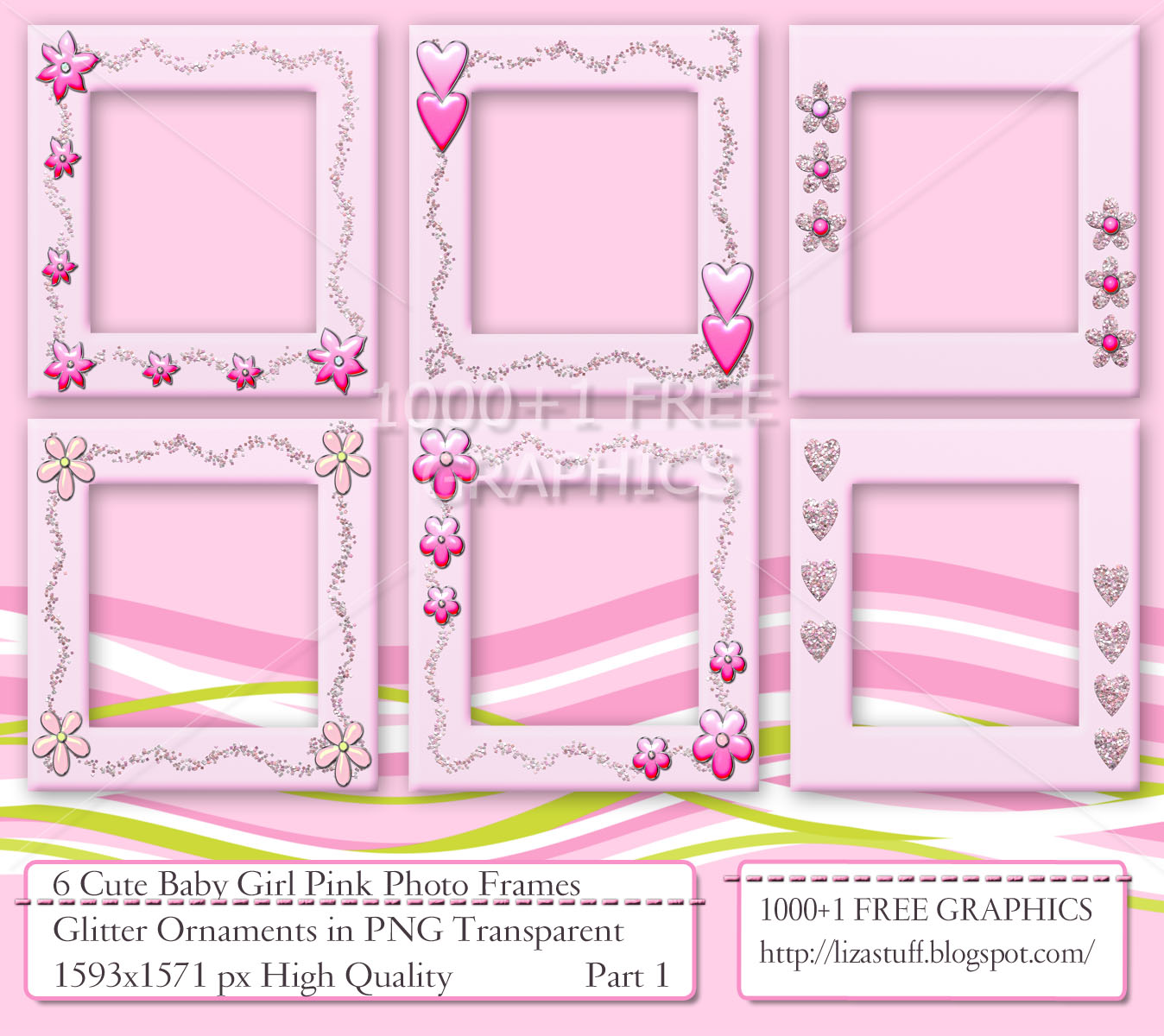 1000 1 free graphics 6 cute baby girl pink photo frames glitter