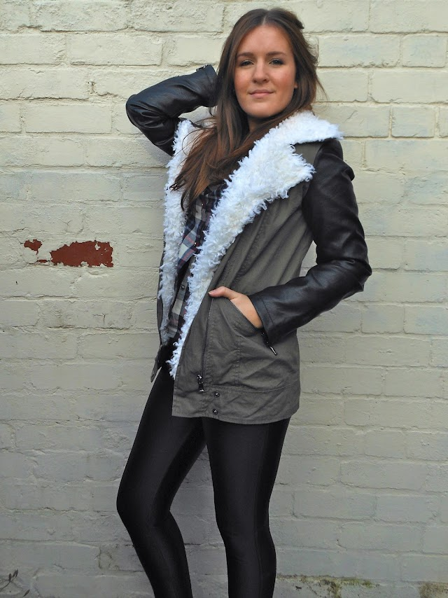 Missguided leather Sleeve khaki Jacket blog