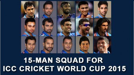Team India Squad for Cricket World Cup 2015