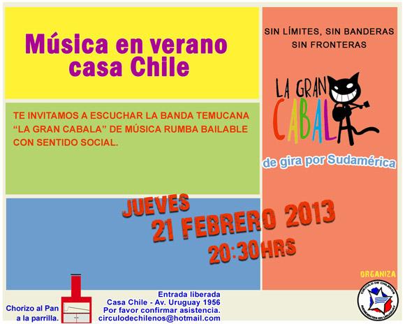 21 febrero en casa Chile Musica de La Gran Cabala
