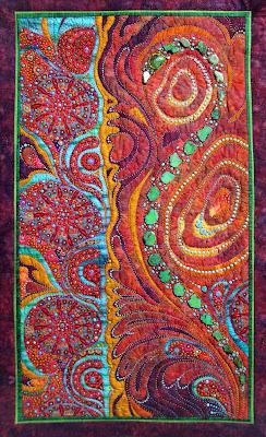 Thom Atkins, beaded quilt, Tenuous Membrane, detail