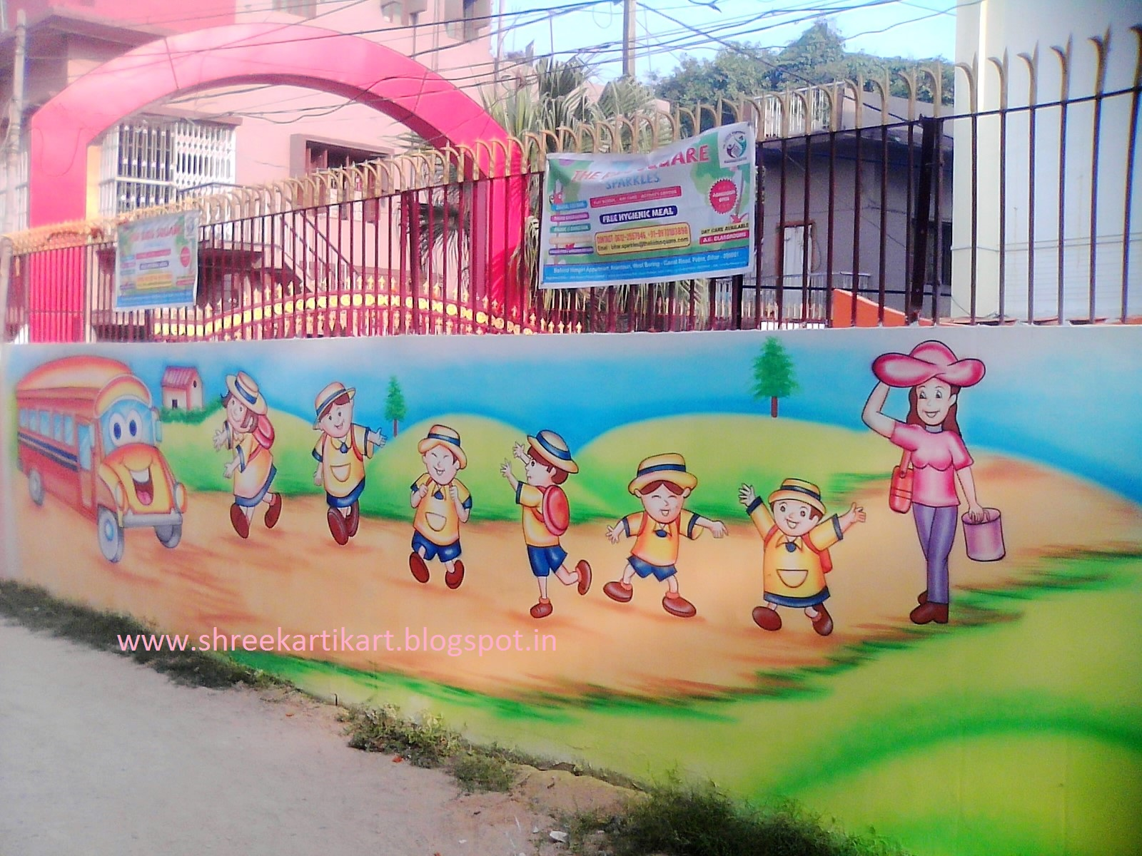 Play school wall painting 3d cartoon painting school for Outer painting design