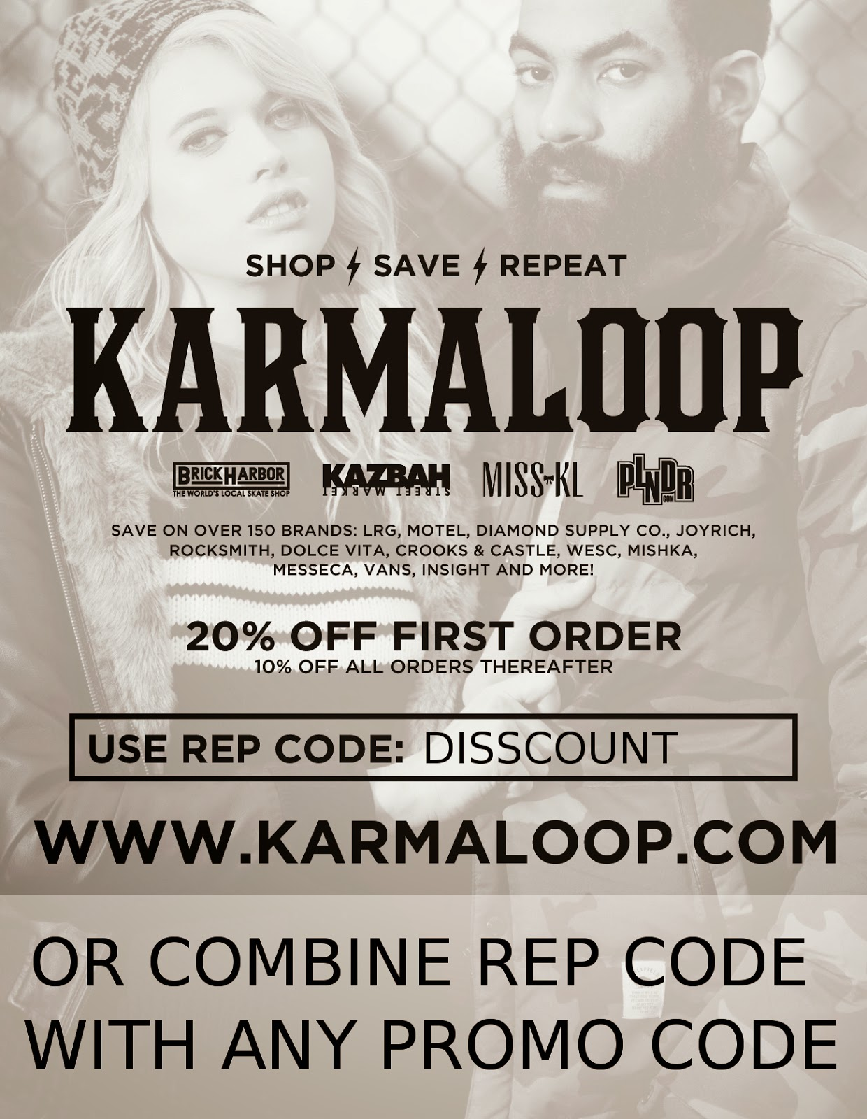 Browse for Karmaloop coupons valid through December below. Find the latest Karmaloop coupon codes, online promotional codes, and the overall best coupons posted by our team of experts to save you 25% off at Karmaloop.