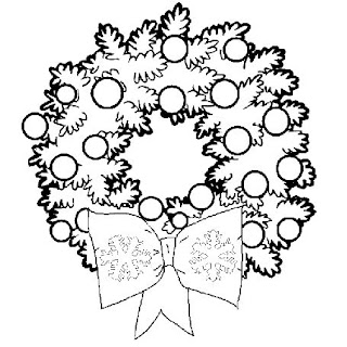 wreath decoration ideas for Christmas with baubles coloring page photo