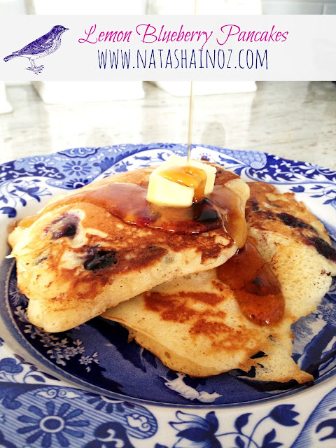 Pioneer Woman's Lemon Blueberry Pancakes #recipe via @natashainozblog