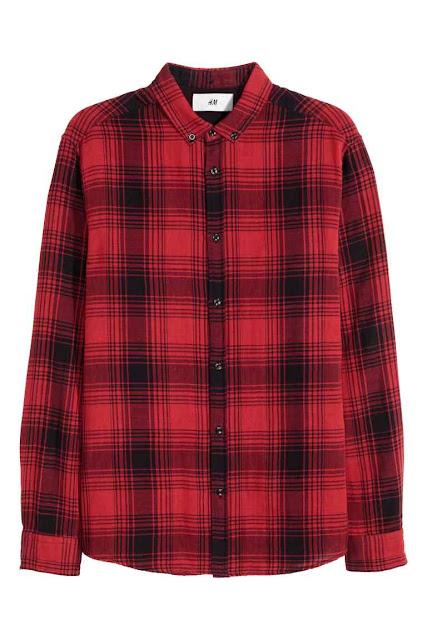 h&m david beckham chemise carreaux rouge