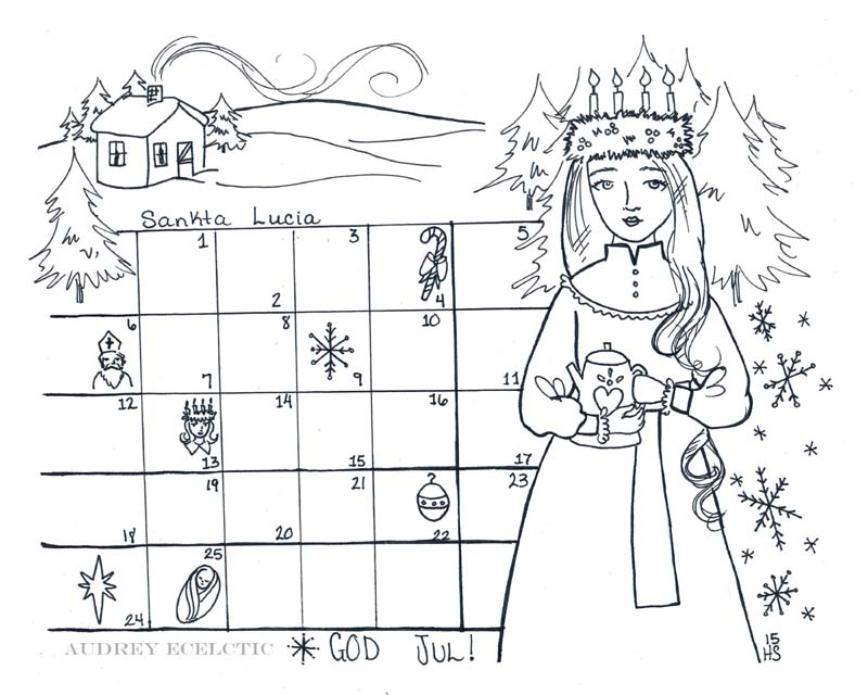 time to start thinking about advent and christmas art and ive decided to offer another st lucia themed printable coloring sheet