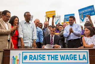 Los Angeles Mayor Eric Garcetti, minimum wage, LA minimum wage