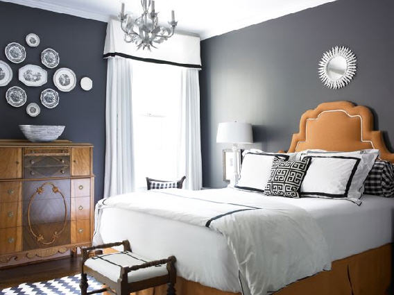 Valerie wills interiors grey bedroom design for Bedroom inspiration orange