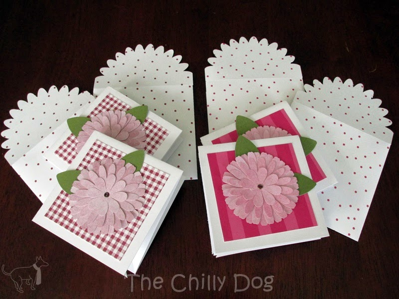 May 2015 Giveaway: Set of 4 handmade flower notecards with matching envelopes