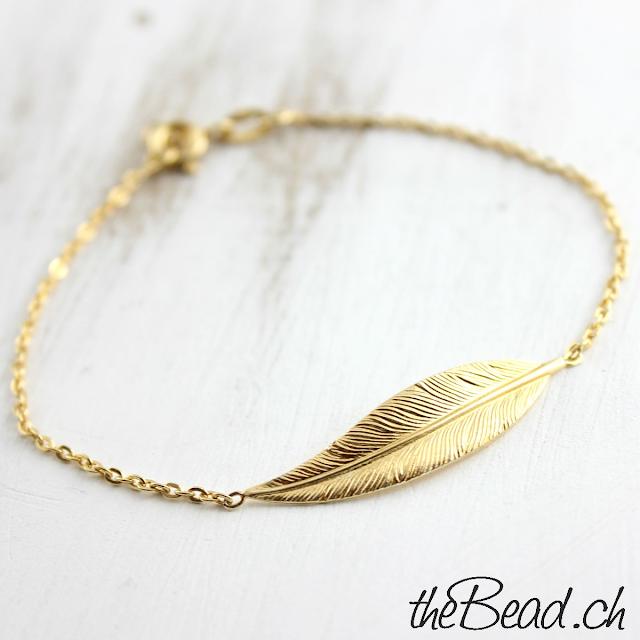 Gold Feder Armband toller Trendschmuck Onlineshop theBead.ch