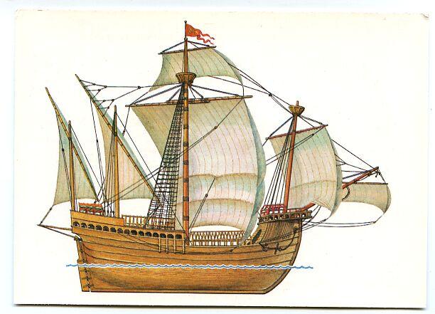 Gambar Kapal Layar Carrack satu tiang utama