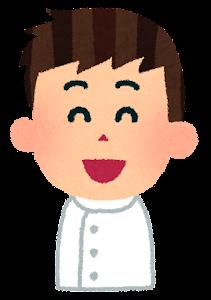 男性看護師の表情のイラスト「笑った顔」
