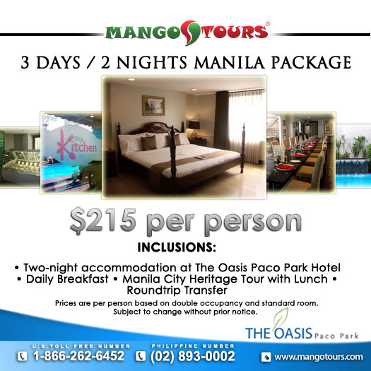 Mango Tours The Oasis Paco Park Hotel Manila Package