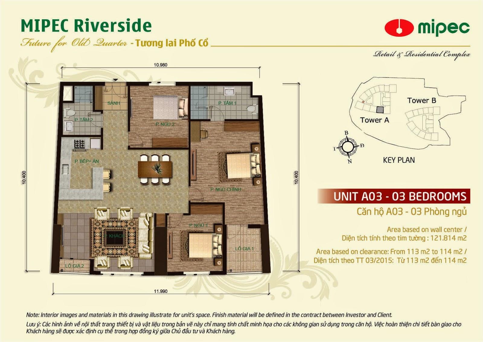 Căn A03 - 121m Mipec Riverside