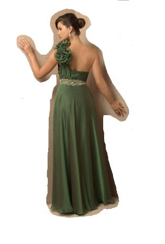 Jovani 2246 Green Asymmetrical Floral Gown Dress Evening 12 Jovani Dress
