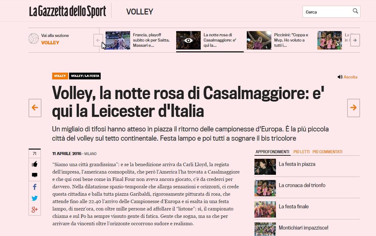 REVISTA PRESEI: Casalmaggiore este ca un Leicester al Italiei