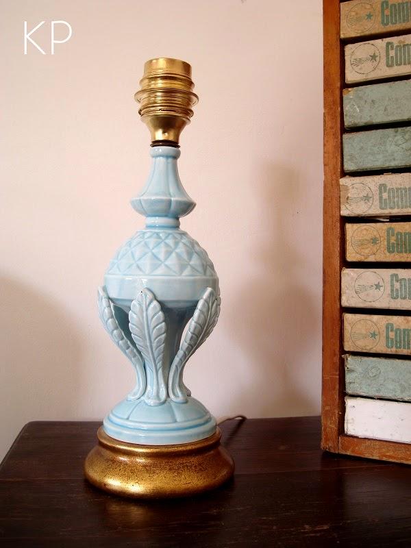 Lámparas de Manises antiguas de los años 50 con base de madera dorada