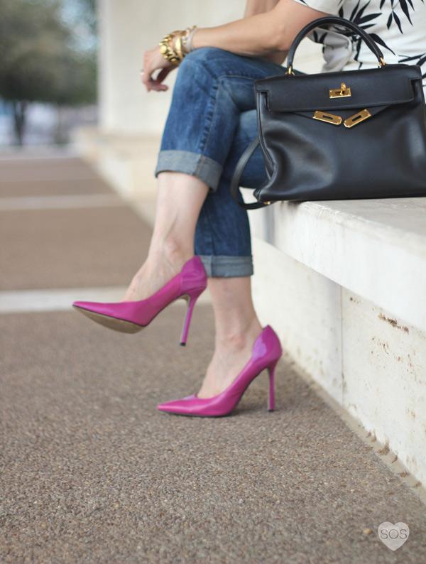 Hermes kelly bag, Prada Baroque sunglasses, By Boe hoop earrings, Enzo Angiolini pink pumps, Zara boyfriend jeans, black and white graphic print puff sleeve top jacket, style of sam