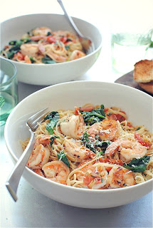 shrimp pasta with spinach