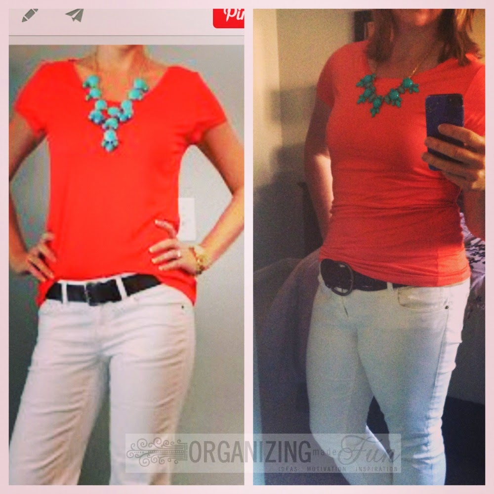 Find outfits from your own closet through Pinterest:: OrganizingMadeFun.com -- orange top, white denim pants