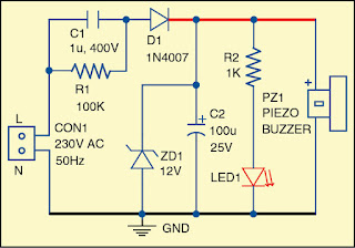 Circuit diagram of the mains power indicator