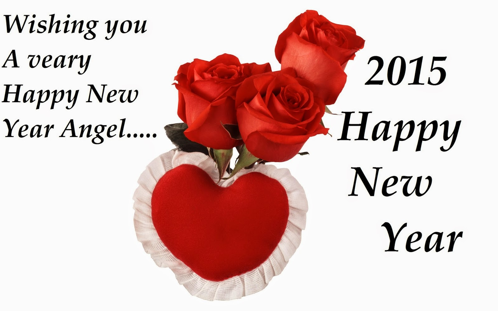 Happy New Year Red Roses Heart Greetings