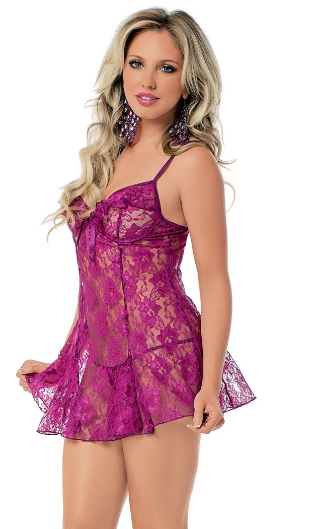 Lace Chemise with G-String for Valentines Day