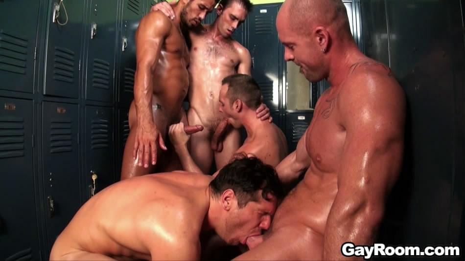 Gay locker rooom orgy