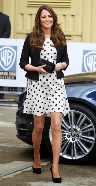 Catherine Middleton wears a charming polka dot Topshop dress, April 2013