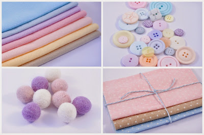 Wool blend felt, buttons, polka dot fabric, wool felt balls