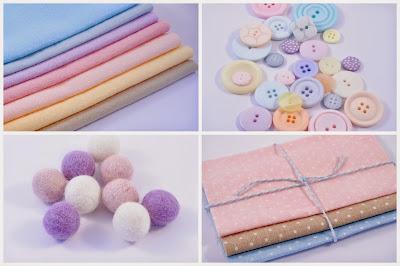 Wool blend felt, buttons, polka dot fabric, wool felt balls