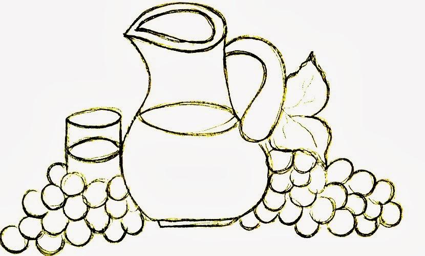 desenho de jarra de suco de uva para pintar em semaninha de panos de copa