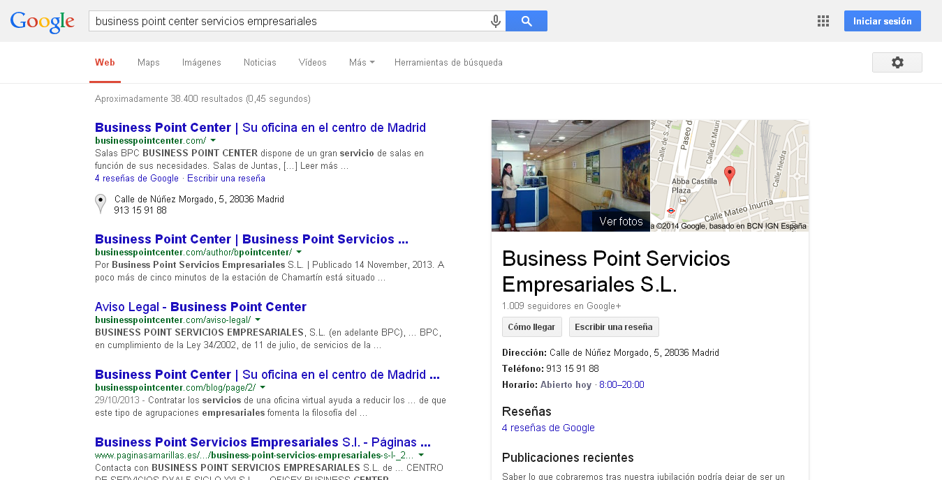 Google+ Local en búsquedas Google