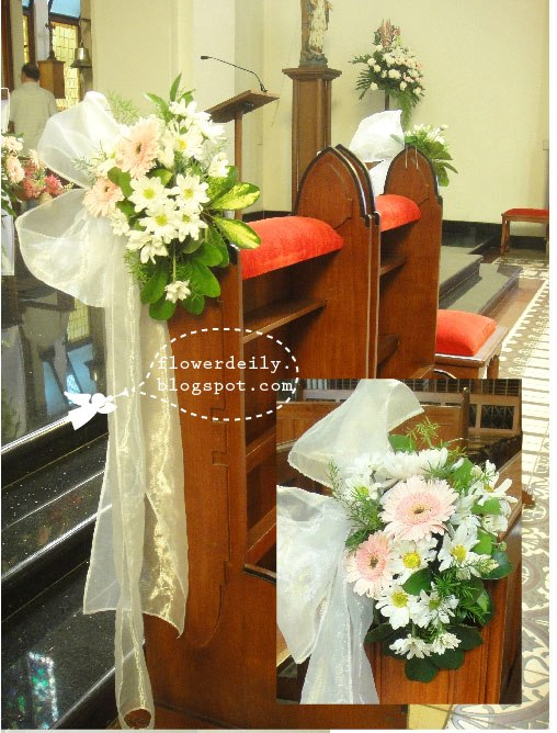 Simple Wedding Decoration At Church : Simple pink colored wedding church decor flower daily