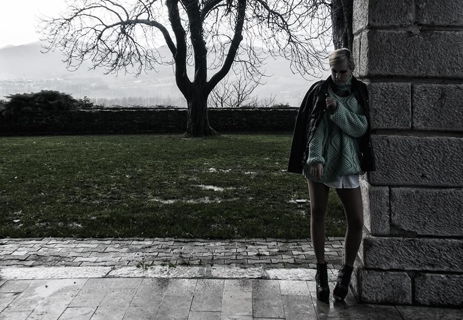 For Peet's Sake blog mint knit sweater Litas leather jacket