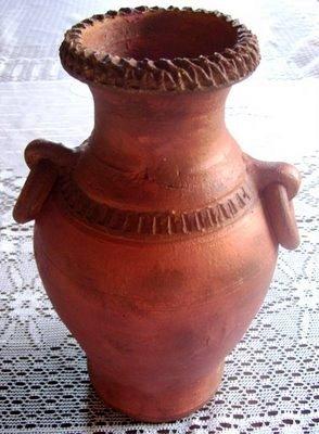 Cacharro barro patinado imitando al cobre