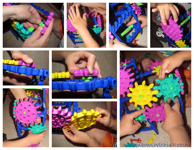 photo of: building with colorful gears, fine motor fun