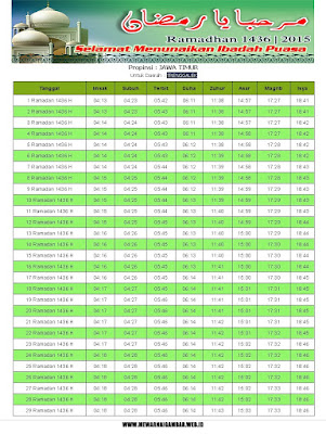 Jadwal Imsakiyah Trenggalek Ramadhan 1436 H