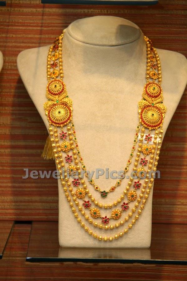 beautifully designed 5 layered long gold haram latest