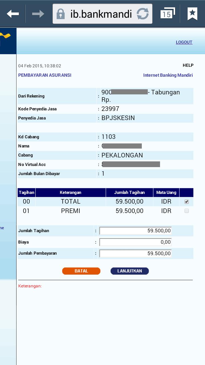 cara membayar bpjs lewat e banking mandiri