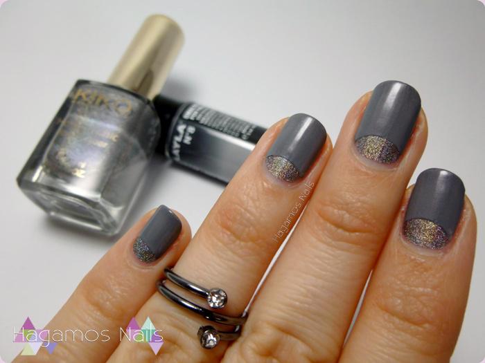 Manicura Media Luna Holográfica y termica. Hagamos Nails