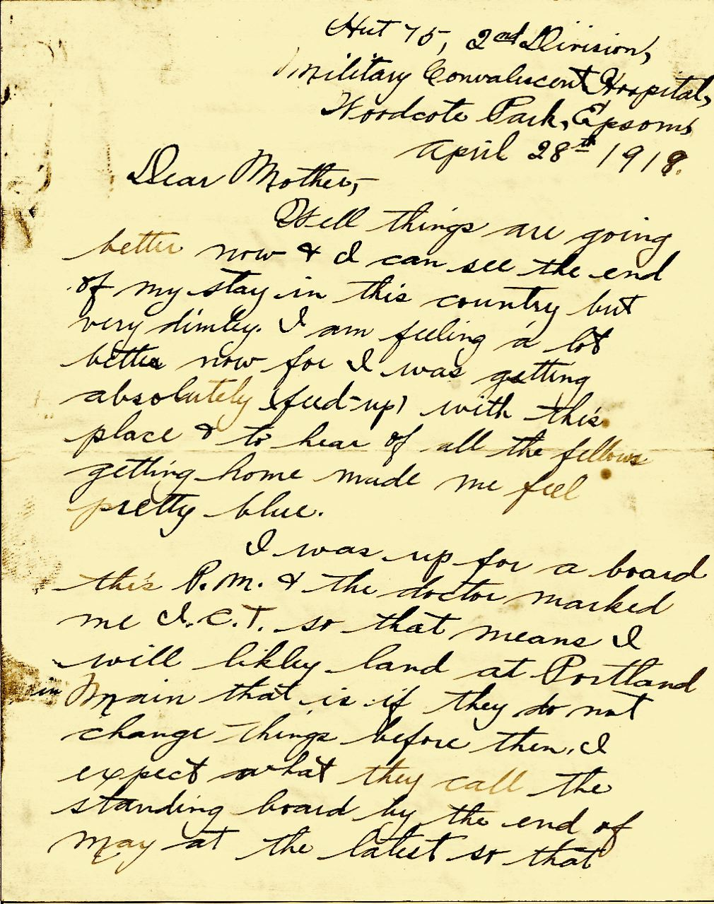 Letters From World War One April 28 1919 Woodcote Park