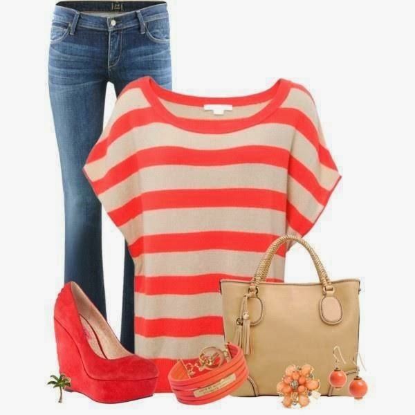 Colorful blouse, jeans, handbag and high heels combination